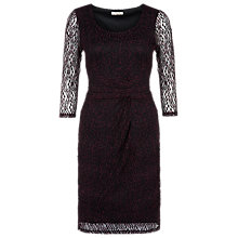 Buy Precis Petite Ruched Detail Lace Shift Dress, Plum Online at johnlewis.com