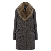 Buy Warehouse Tweed Faux Fur Collar Coat, Navy Online at johnlewis.com