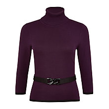 Buy Precis Petite Belted Jumper, Plum Online at johnlewis.com