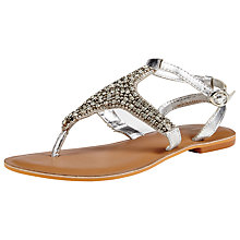 Buy John Lewis Grape Beaded Flat Sandals, Silver Online at johnlewis.com