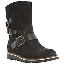 Buy Dune Rainyday Suede Buckled Calf Boots, Black Online at johnlewis.com