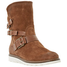 Buy Dune Rainyday Suede Buckled Calf Boots, Tan Online at johnlewis.com