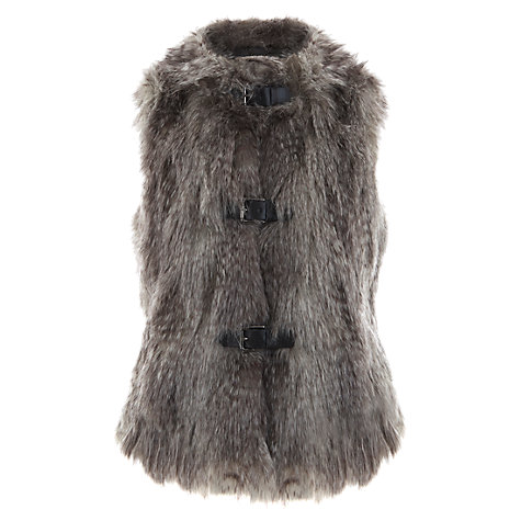 Buy Mint Velvet Latte Textured Faux Fur Gilet, Grey / Brown Online at johnlewis.com