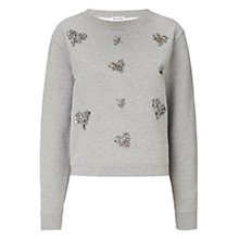 Buy Whistles Embellished Heart Jumper, Grey Marl Online at johnlewis.com
