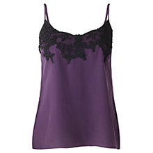 Buy Jigsaw Silk Embroidered Cami, Aubergine Online at johnlewis.com