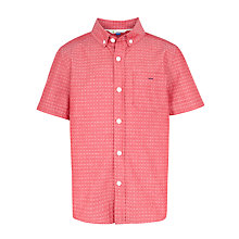 Buy John Lewis Boy Short Sleeve Jacquard Print Shirt, Red Online at johnlewis.com