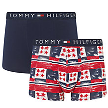 Buy Tommy Hilfiger Trav Trunks, Pack of 2, Navy/Red/White Online at johnlewis.com