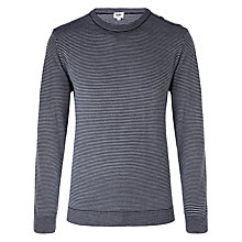 Buy Kin by John Lewis Fine Stripe Merino Wool Blend Button Neck Jumper, Navy Online at johnlewis.com