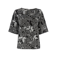 Buy Oasis Butterfly Jacquard Drop Sleeve Top, Black & White Online at johnlewis.com