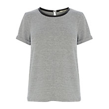 Buy Oasis Short Sleeved Sweater with Faux Leather Trim, Grey Marl Online at johnlewis.com