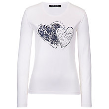Buy Betty Barclay Long Sleeve Heart T-Shirt, Off White Online at johnlewis.com