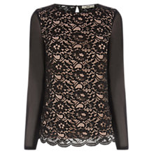 Buy Oasis Sheer Sleeve Lace Top, Black Online at johnlewis.com
