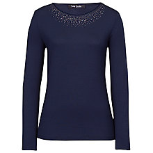 Buy Betty Barclay Long Sleeved Sparkle Neck T-Shirt, Dark Sapphire Online at johnlewis.com