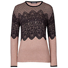 Buy Betty Barclay Fine Knit Lace Jumper, Camel/Black Online at johnlewis.com