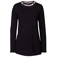 Buy Betty Barclay Animal Print Trim Jumper, Black Online at johnlewis.com