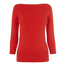 Buy Oasis Stitched Slash Neck Top, Rich Red Online at johnlewis.com