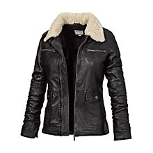 Buy Fat Face Rydal Leather Jacket, Phantom Online at johnlewis.com