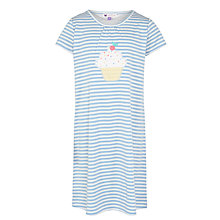 Buy John Lewis Girl Cupcake Applique Nightdress, Blue/White Online at johnlewis.com