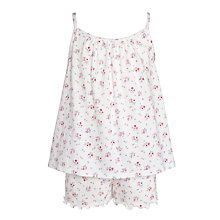 Buy John Lewis Girl Floral Print Short Pyjamas, Cream/Multi Online at johnlewis.com