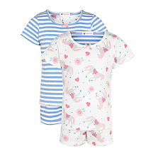 Buy John Lewis Girl Stripe & Pony Print Pyjamas, Pack of 2, Cream/Multi Online at johnlewis.com