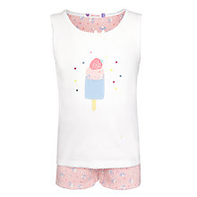 Buy John Lewis Girl Sleeveless Floral Print Pyjamas, White/Pink Online at johnlewis.com