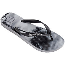 Buy Havaianas Hype Palm Print Flip Flops, Grey/White Online at johnlewis.com