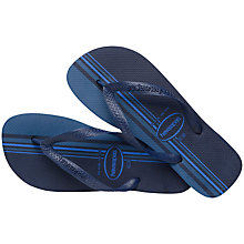 Buy Havaianas Top Stripe Flip Flops, Navy/Blue Online at johnlewis.com