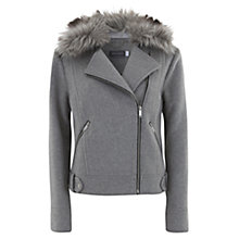 Buy Mint Velvet Wool Blend & Faux Fur Biker Jacket, Grey Online at johnlewis.com