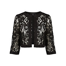 Buy Coast Fallow Cropped Lace Jacket, Black Online at johnlewis.com