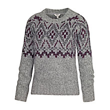 Buy Fat Face Bea Placement Fairisle Jumper, Grey Online at johnlewis.com