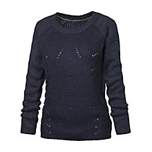 Buy Fat Face Chloe Cable Jumper, Navy Online at johnlewis.com