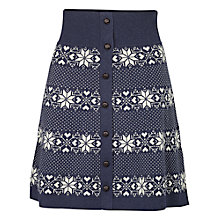 Buy Fat Face Cotton Knit Fairisle Skirt, Navy Online at johnlewis.com