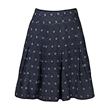 Buy Fat Face Pleated Floral Stripe Skirt, Navy Online at johnlewis.com