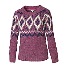 Buy Fat Face Bea Placement Fair Isle Jumper, Winter Rose Online at johnlewis.com