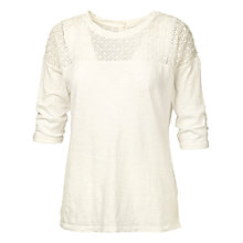 Buy Fat Face Button Back Lace T-Shirt Online at johnlewis.com