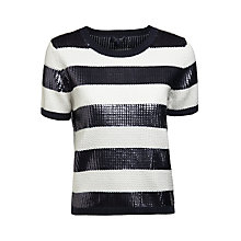 Buy Armani Jeans Sequin Top, Blue/White Online at johnlewis.com