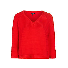 Buy Armani Jeans Ribbed Cotton Jumper, Red Online at johnlewis.com