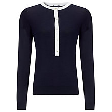 Buy Armani Jeans Button Trim Jumper, Navy/White Online at johnlewis.com
