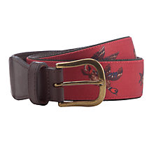 Buy Barbour Country Bird Printed Leather Trim Belt, Red/Brown Online at johnlewis.com