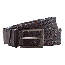 Buy Barbour Leather and Waxed Cotton Woven Belt, Black Online at johnlewis.com