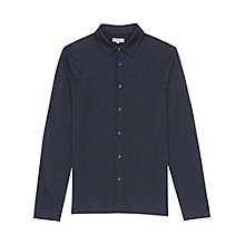Buy Reiss Chancery Jersey Button Shirt, Navy Online at johnlewis.com