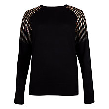 Buy Ted Baker Fairia Stud Detail Sweatshirt, Black Online at johnlewis.com