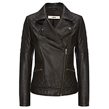 Buy Oasis Stevie Leather Jacket, Black Online at johnlewis.com