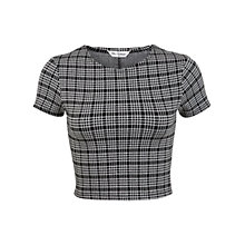 Buy Miss Selfridge Mini Check Co-Ord Top, Black Online at johnlewis.com