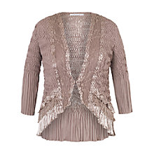 Buy Chesca Crush Pleat Lace and Satin Trim Shrug, Pale Mink Online at johnlewis.com