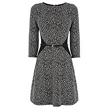 Buy Oasis Textured Flippy Dress, Black/White Online at johnlewis.com