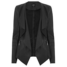 Buy Oasis Faux Leather Waterfall Drape Jacket, Black Online at johnlewis.com