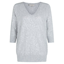 Buy Hobbs Selena V-Neck Sequin Detail Sweater, Grey Melange Online at johnlewis.com