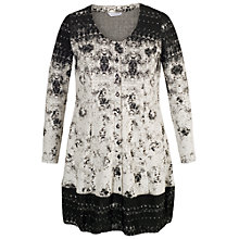 Buy Chesca Border Button Through Tunic Dress, Ivory/Black Online at johnlewis.com