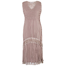 Buy Chesca Crush Pleat Sleeveless V-Neck Dress, Pale Mink Online at johnlewis.com